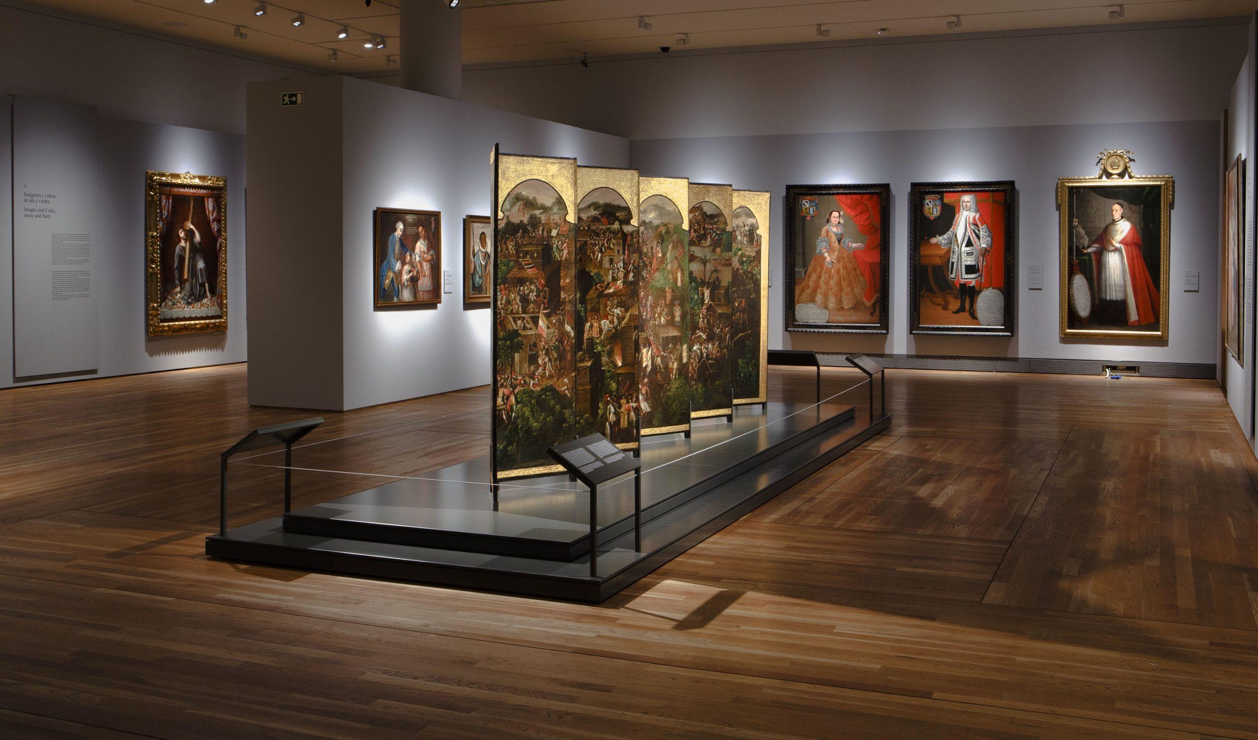 """Imagen de la sala de la exposición """"Tornaviaje. Arte Iberoamericano en España"""". Foto © Museo Nacional del Prado."""