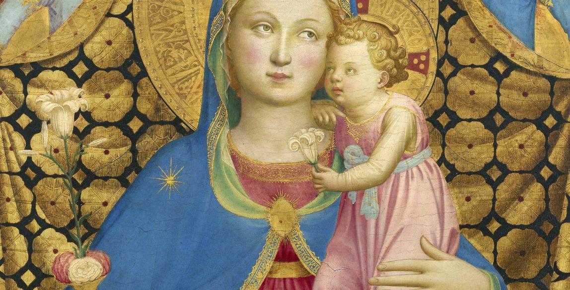 Fra Angelico. La Virgen de la Humildad (detalle), hacia 1433-1435. Colección Thyssen-Bornemisza, en depósito en el Museu Nacional d'Art de Catalunya.